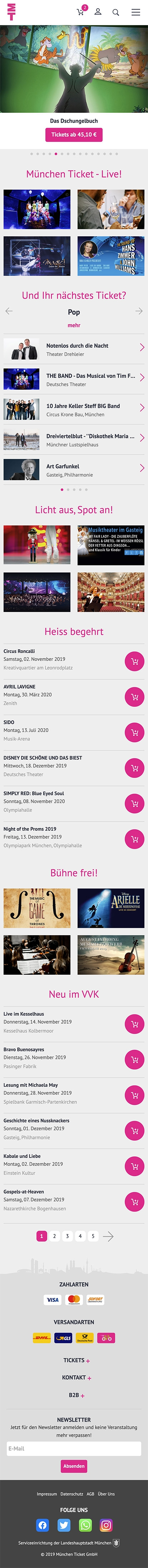 München Ticket | muenchenticket.de | 2019 (Phone Full Scroll) © echonet communication